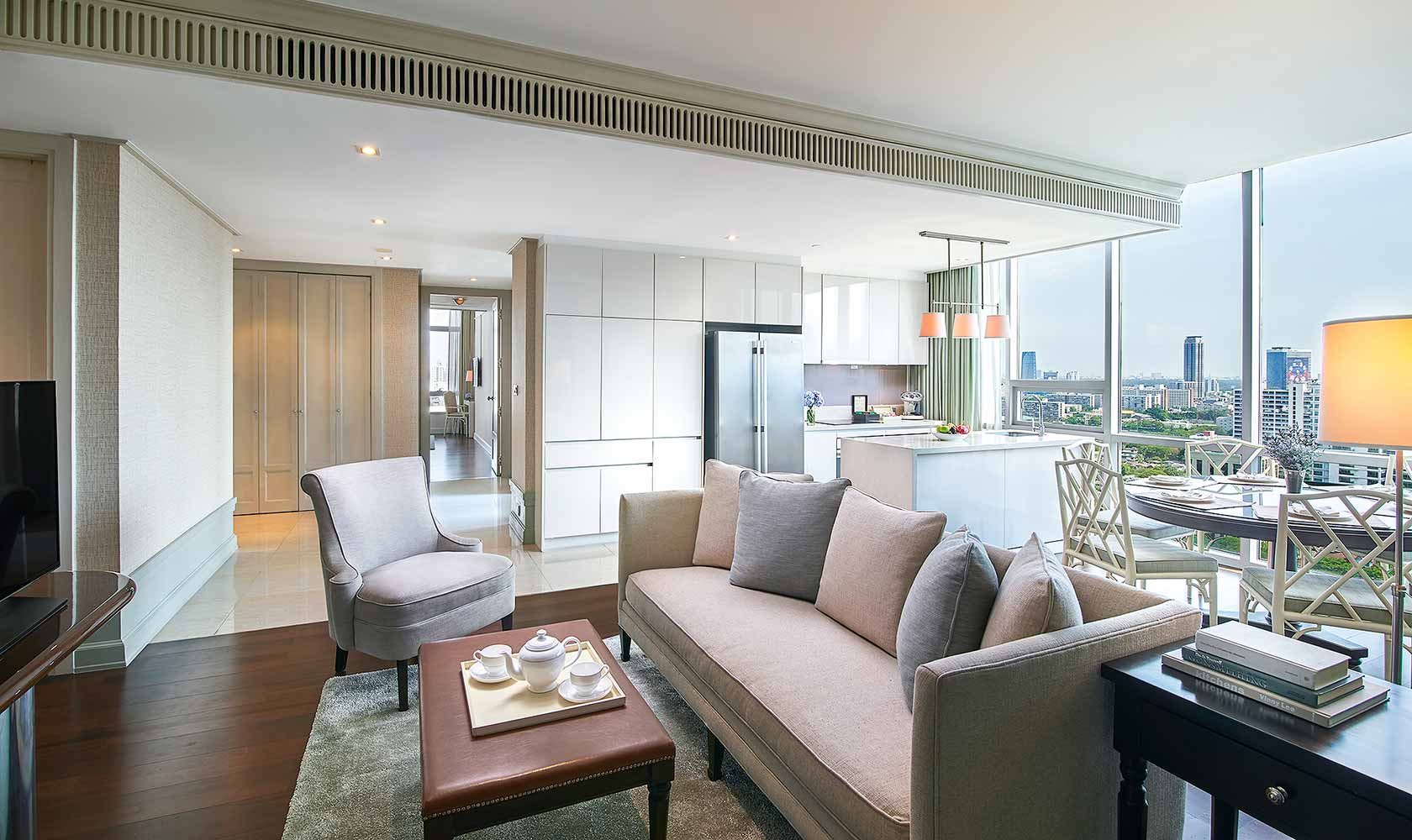 Separate living and dining room in Three Bedroom Suite - Oriental Residence Bangkok