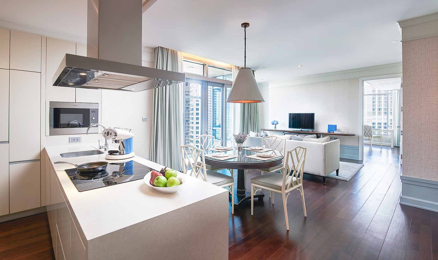 Separate dining and living room in Two Bedroom Suite - Oriental Residence Bangkok